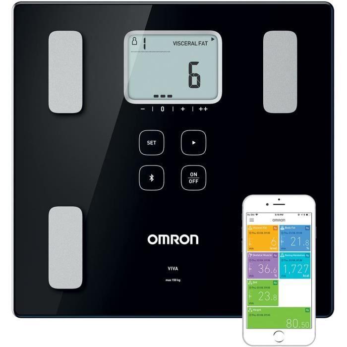 OMRON VIVA : Pèse-personne intelligent Bluetooth, avec moniteur de composition : graisse corporelle, graisse viscérale, musculature