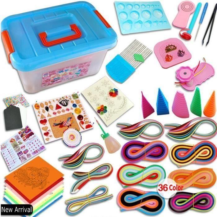 Quilling papier ensemble matériel de dessin l'outil débutants papier de couleur avec boîte de rangement Bo74580
