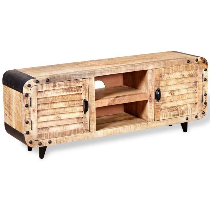 Meuble TV Design Moderne Meuble Télévision de salon Bois de manguier massif 120 x 30 x 50 cm