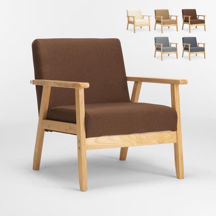 Fauteuil Chaise scandinave design vintage en bois avec accoudoirs Uteplass, Couleur: Marron