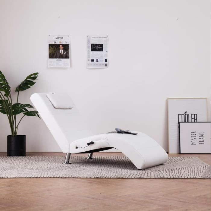 SOLDES-5738Chaise longue de massage Chaise de Relaxation Ergonomique - Fauteuil de massage MÉRIDIENNE avec oreiller Blanc Similicuir