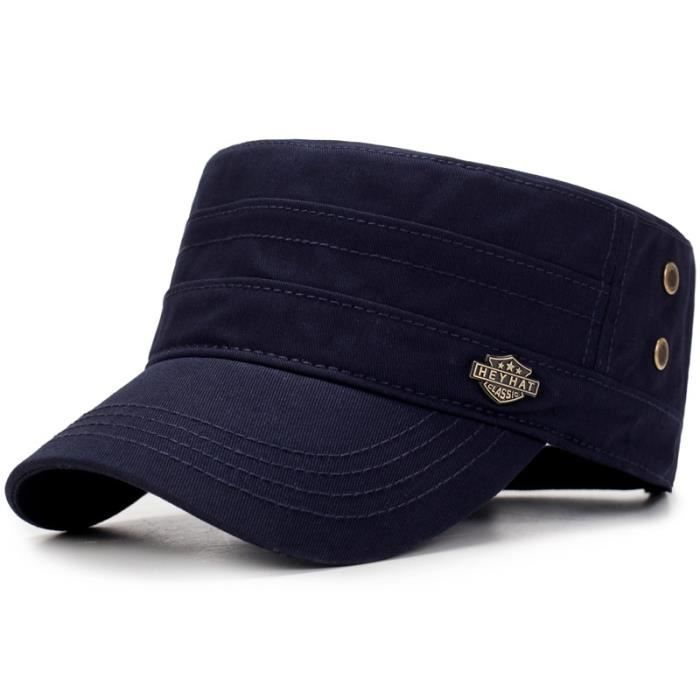 Casquette militaire pour hommes, en coton lavé, casquettes plates, Vintage, chapeau militaire pour h navy blue