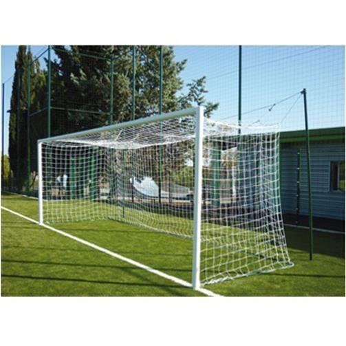 Filets de foot à 11 noir pour but de football senior: 7,32m x 2,44m. Fil en tresse polyéthylène haute densité 4mm traité UV, mailles