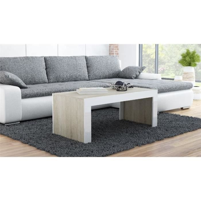 Table basse design YORI - Bois et blanc - 120