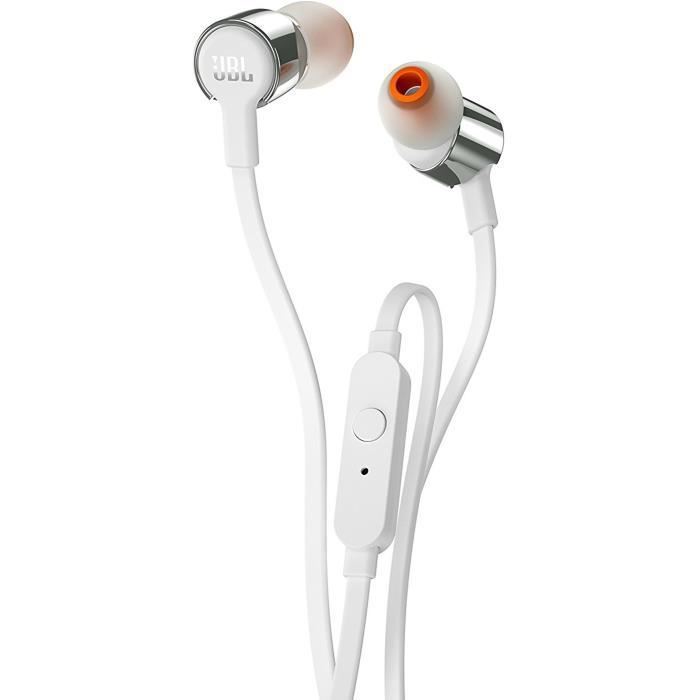 JBL T290SIL Ecouteurs Bluetooth intra-auriculaire filaire - Pure Bass -Argent