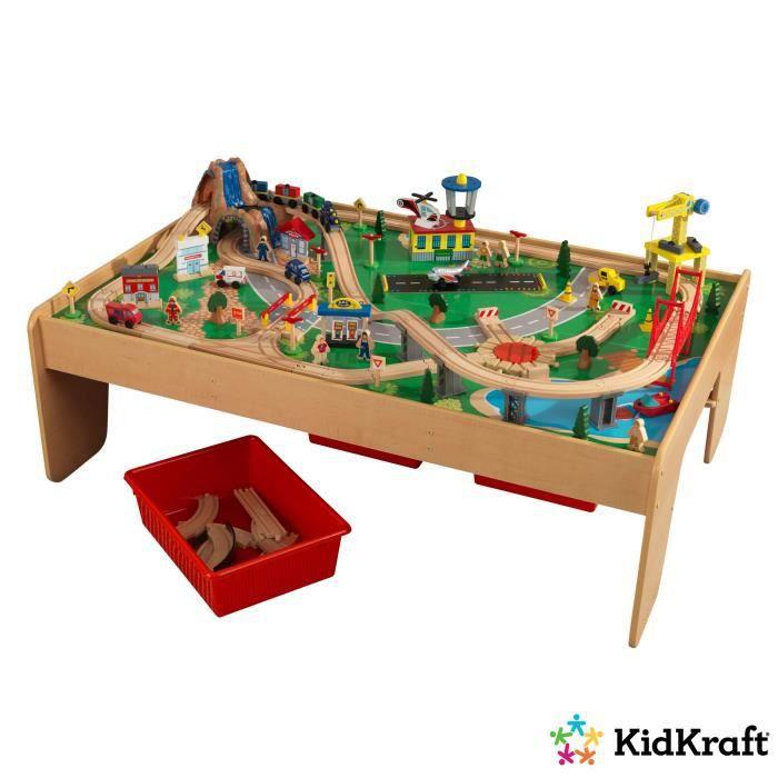 KidKraft circuit train et table en bois avec 120 accessoires