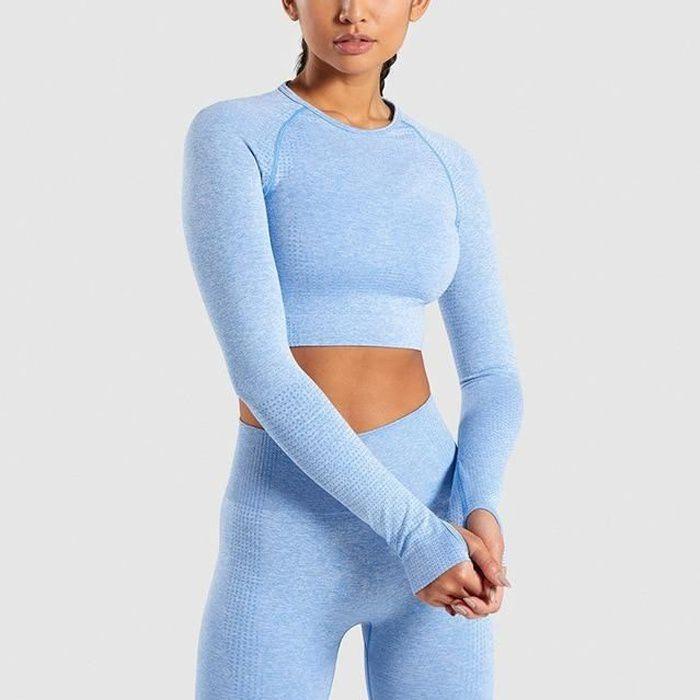 Tongcart Femmes Vital Sans Couture Yoga Ensemble Vêtements De Sport Fitness Leggings + Chemises Recadrées Sport Costume Femmes à
