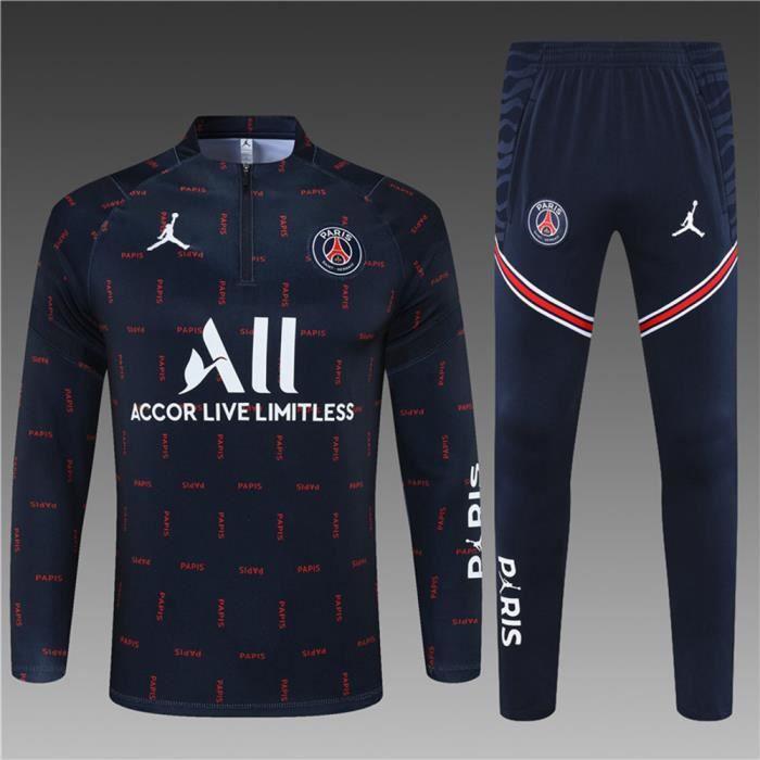 Maillot Foot NIKE PSG x Jordan 2021 2022 Survêtements Foot Homme Enfants Nouveau - Bleu