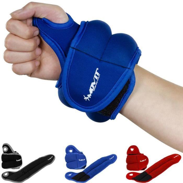 MOVIT® Jeu de 2 Poids de 1,0kg lestés pour Poignets en néoprène bleu avec Boucles pour Le Pouce Bleu