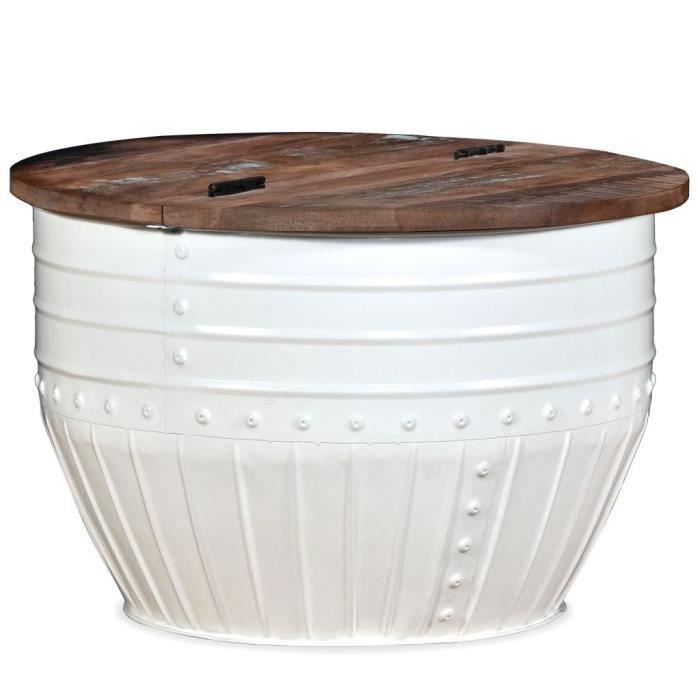 Table basse Table de canapé Bois de récupération massif forme de baril blanc