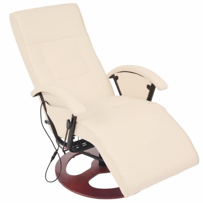 Fauteuil électrique de massage Cuir Chaises Fauteuil relax Fauteuil Relaxation Massage synthétique Blanc crème