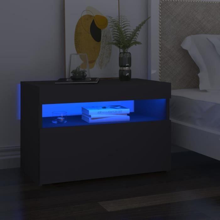 8239lOVE® Meuble TV Vintage Design-Armoire TV avec lumières LED,Banc TV,Table Salon Gris 60x35x40 cm
