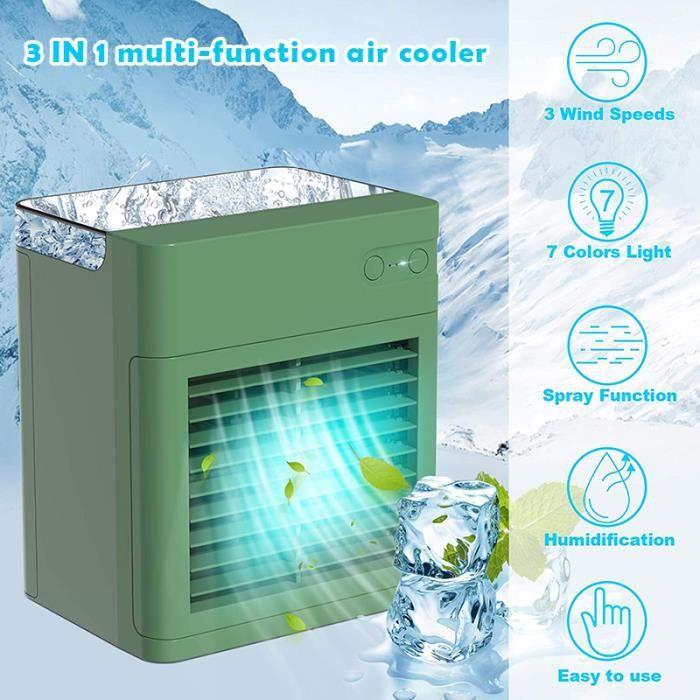 Climatiseur mobile Mini refroidisseur d'air avec humidificateur, 3 en 1 refroidisseur d'air personnel, chargement USB, pour maison