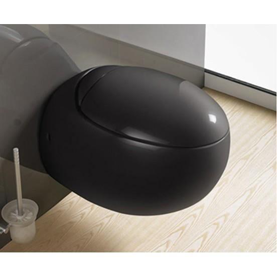 WC Suspendu Oeuf, 59x41 cm, Noir, avec Abattant, Ove