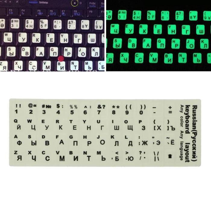 Cuigu Autocollant Clavier Russe Lettres pour Ordinateur Portable Autocollant Lumineux Fluouorescent Deacute;Butantsparent Bcd`3579`