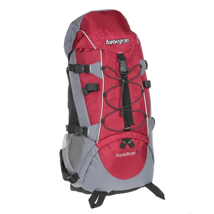 ASPENSPORT Backpack North Siope - Sac à dos 55 Litres Gris et Rouge