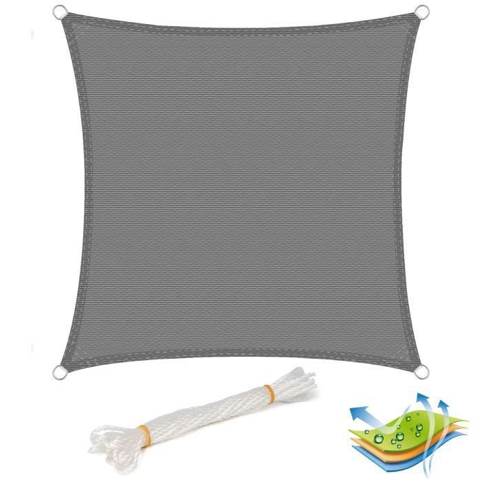 WOLTU Voile d'ombrage carré en HDPE,protection contre le soleil avec protection UV pour jardin,terrasse ou camping,5x5m Gris
