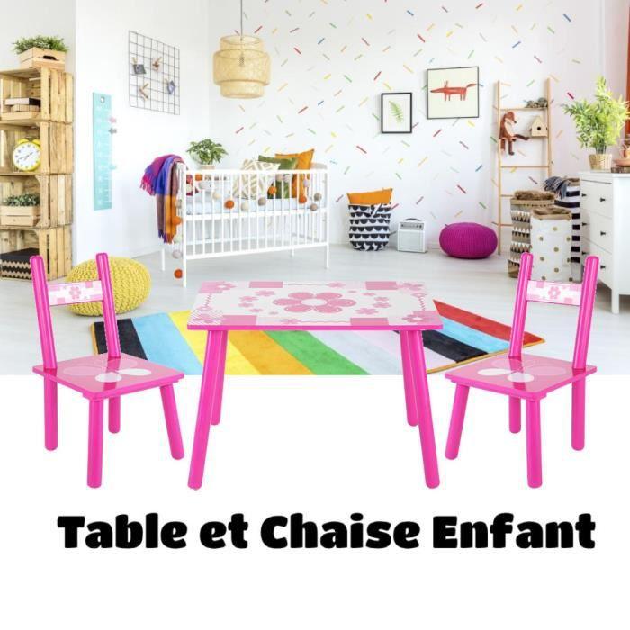 ZJCHAO - Ensemble de Table et 2 chaises en Bois pour Enfants violet - 1759