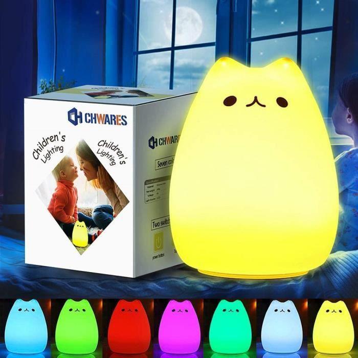 CHwares Portable LED Enfants Veilleuse Enfants Multicolor Lampe de Chat en Silic