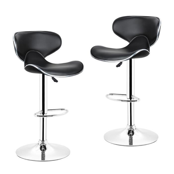 Lot De 2 Tabourets Bar Lounge Chaise Haute Design Reglable Avec Dossier Revetement Synthetique Noir