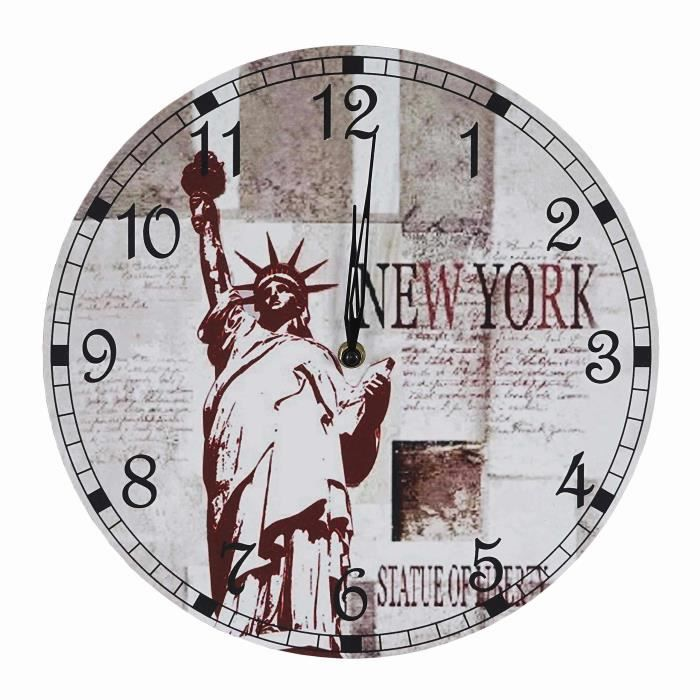 horloge pendule murale d coration moderne new york achat vente horloge panneaux de. Black Bedroom Furniture Sets. Home Design Ideas
