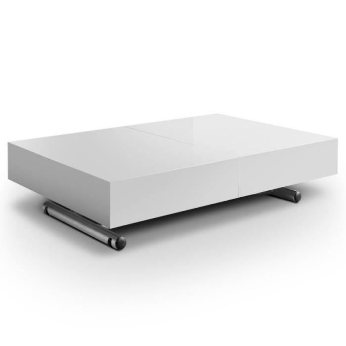 Table basse relevable extensible laqu blanche achat - Table relevable blanche ...