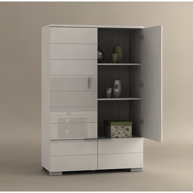 armoire de s jour laqu blanc 39 bloom 39 achat vente buffet bahut armoire de s jour laqu bla. Black Bedroom Furniture Sets. Home Design Ideas