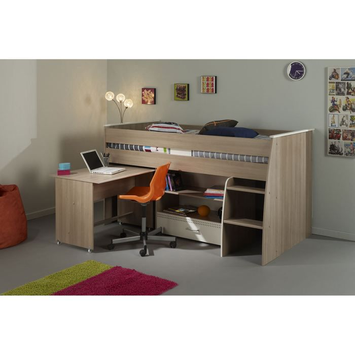 lit combin adolescent 90x200 cm ch ne clair et achat vente lit combine cdiscount. Black Bedroom Furniture Sets. Home Design Ideas