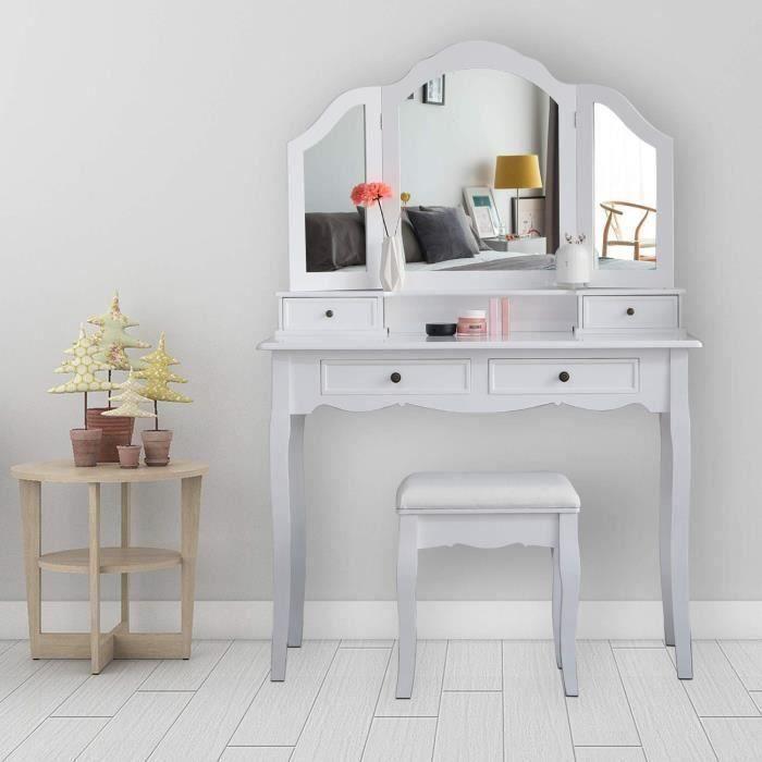 COIFFEUSE Coiffeuse Table de Maquillage avec 3 miroirs et 1
