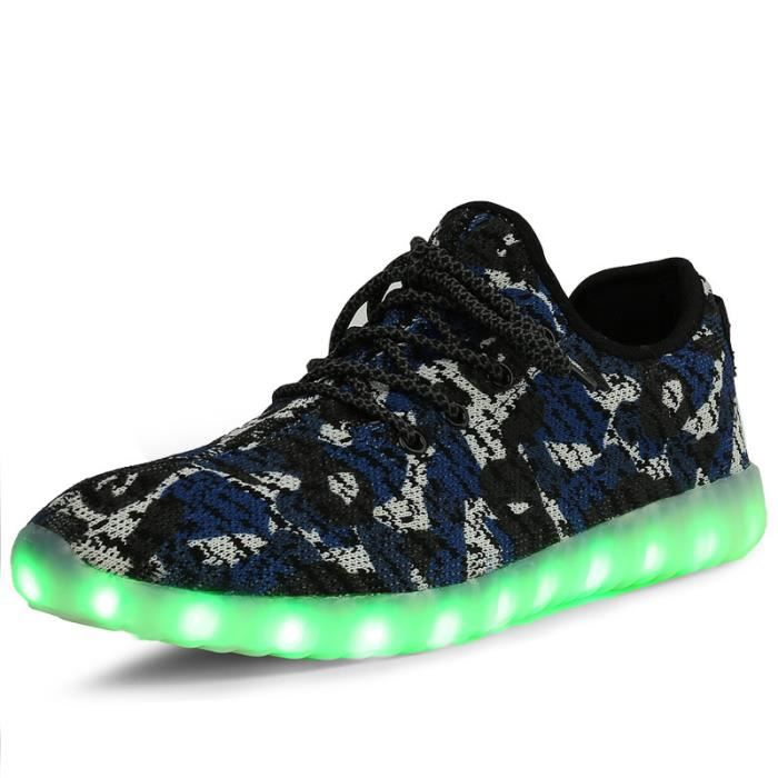 Mode Flyknit Lumière LED Chaussures CamouflageHomme Femme USB Chargeable LED Sport de Chaussures