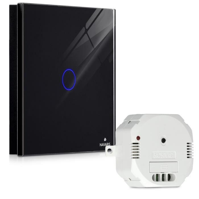 Noir Navaris Interrupteur Sans Fil Tactile Interrupteur Mural Radio 433.92 MHz pour Lampe Interrupteur /à Distance avec Eclairage LED
