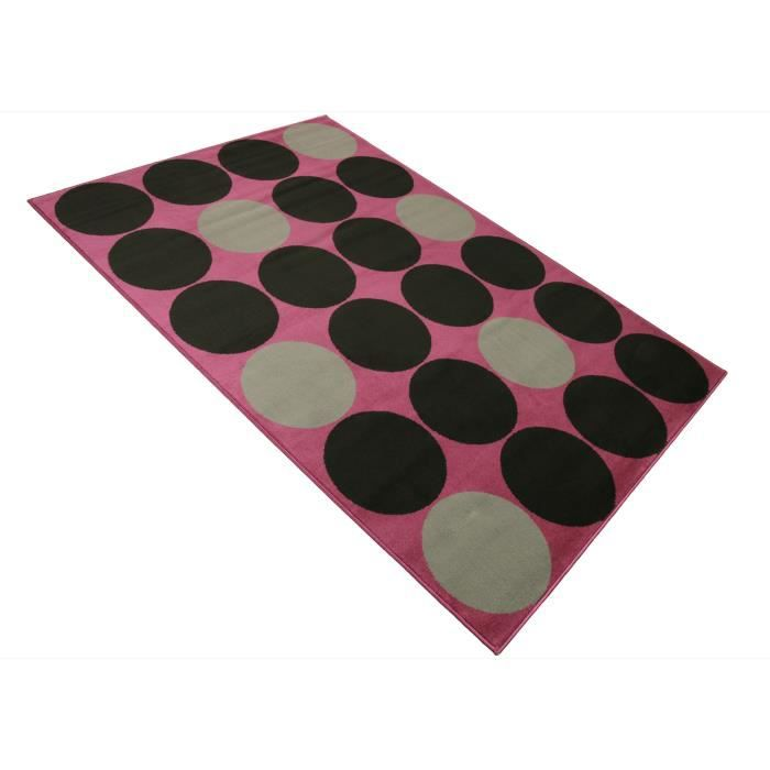 tapis salon retro moderne rose rond noir universol achat vente tapis cdiscount. Black Bedroom Furniture Sets. Home Design Ideas