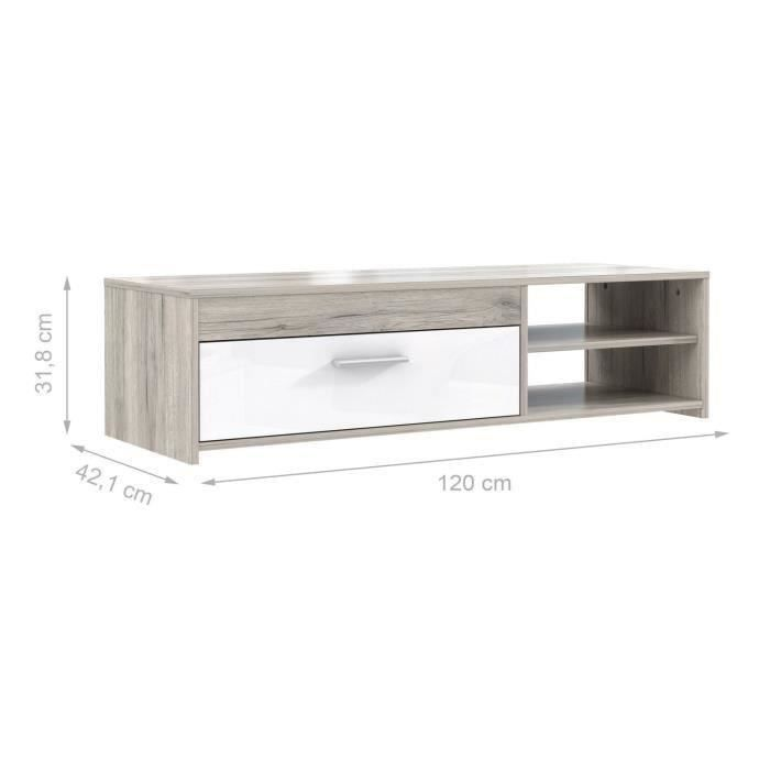 finlandek meuble tv katso contemporain d cor ch ne cendr et blanc brillant l 120 cm achat. Black Bedroom Furniture Sets. Home Design Ideas