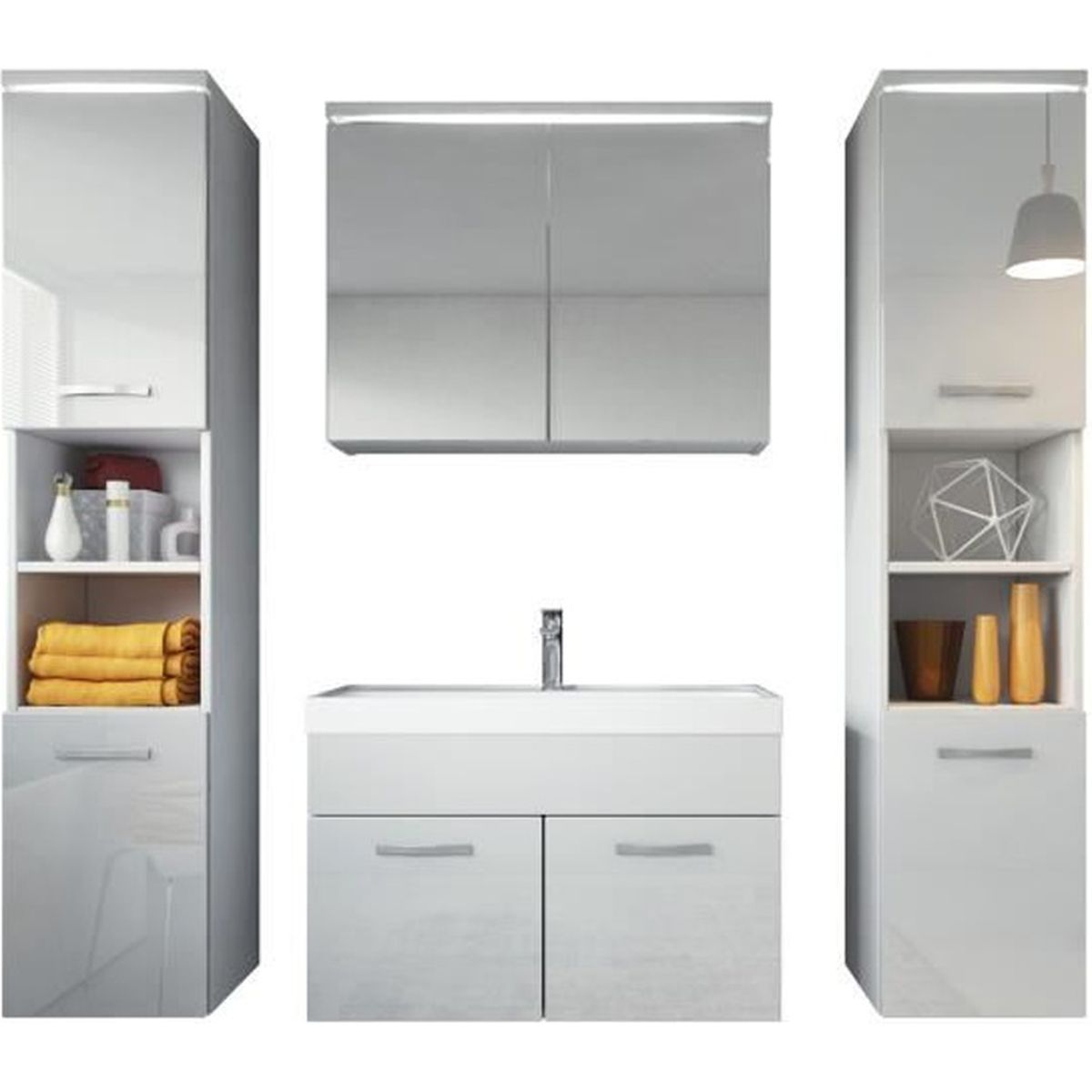 meuble de salle de bain paso xl armoire de rangement meuble lavabo vier meuble lavabo blanc. Black Bedroom Furniture Sets. Home Design Ideas