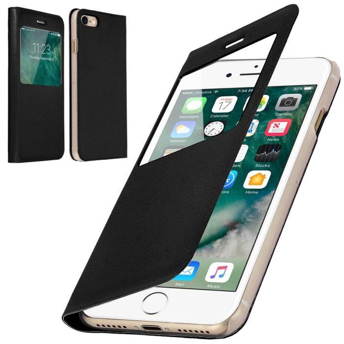 coque iphone 7 plus rabat clapet fenetre noir