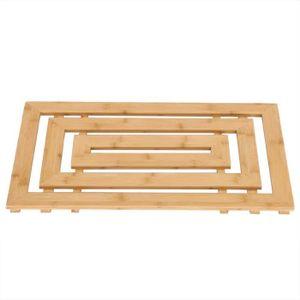 Tapis salle de bain en bambou naturel rectangulaire ...