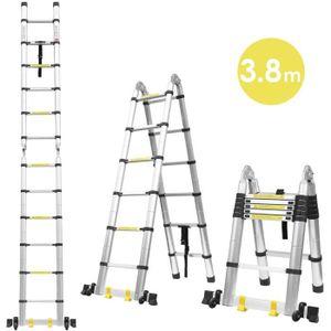 longueur maximale /étendue 355 cm 31 cm. Escabeau pliable multifonction 5 en 1 /échelle /à 12 marches en alliage daluminium capacit/é 330 livres antid/érapante