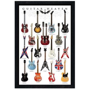 AFFICHE - POSTER Maxi Poster 61 x 91,5 cm cadre en bois noir Guitar