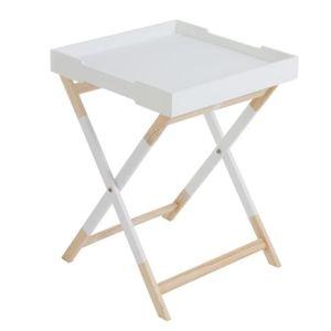 TABLE D'APPOINT Home Decor - Table Pliable avec Plateau blanche -