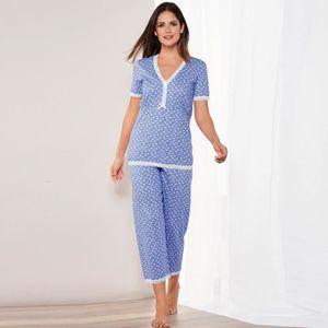 PYJAMA Pyjama imprimé manches courtes et corsaire femme