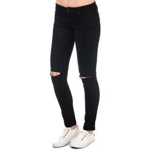 Pantalon fille école tailles 4 6 8 10 12 14 argent zip super skinny hipster noir