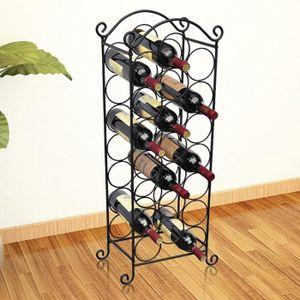 MEUBLE RANGE BOUTEILLE Casier à bouteilles pour 21 bouteilles Métal Noir