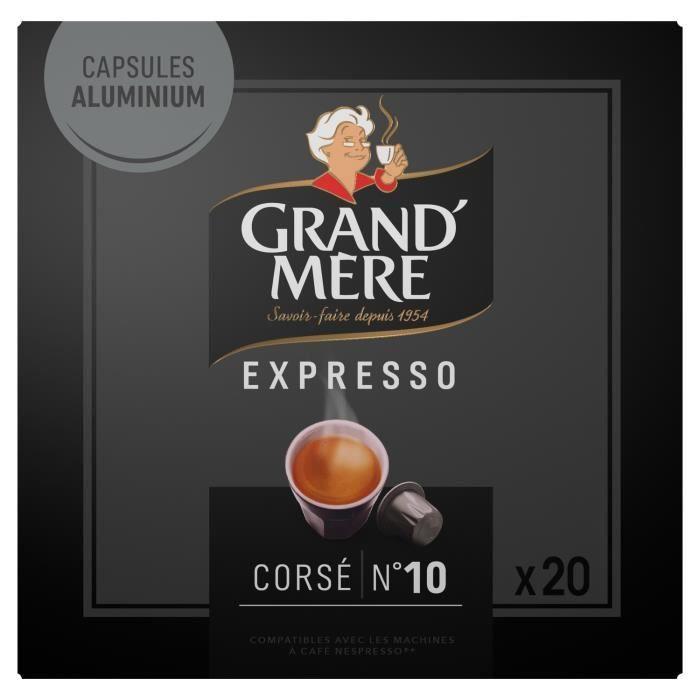 LOT DE 4 - GRAND MERE Expresso Corsé Intensité 10 - 20 capsules de café Compatible Nespresso