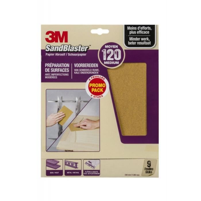 3M - 638760 - SandBlaster - Papier abrasif 230 mm x 280 mm - P120 - 9 Feuilles