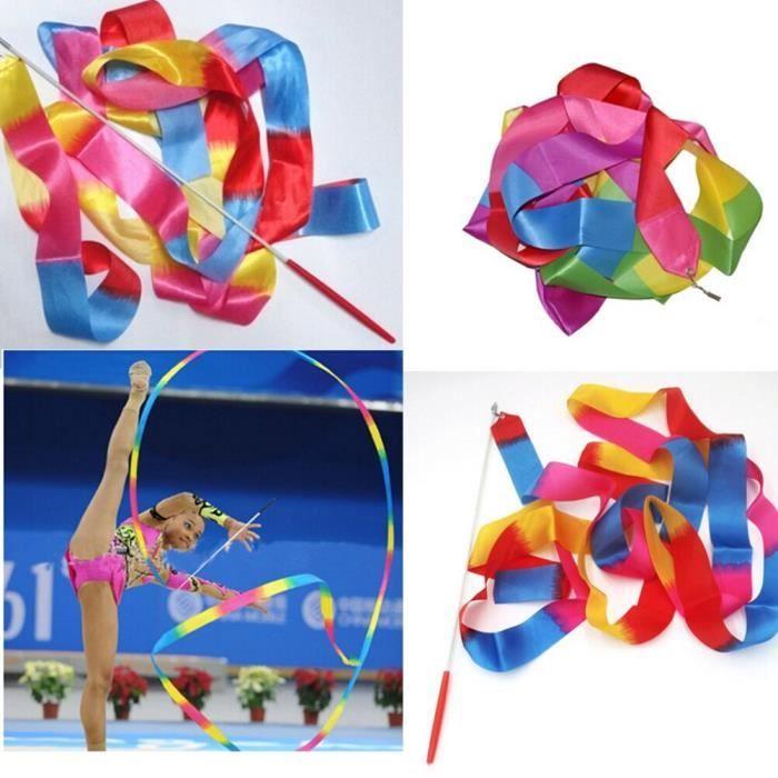 Ruban de danse coloré de 4M, bâton de danse, de gymnastique, de gymnastique rythmique, de Ballet d'art [AF01E55]