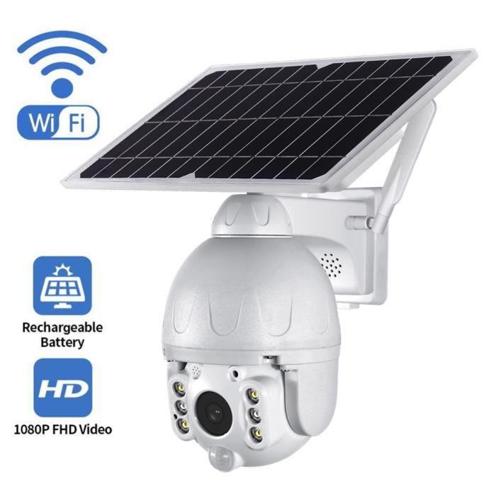Caméra de Surveillance 1080P WiFi Extéreure avec Panneau Solaire,IP caméra 1920*1080P Vision Nocturne 30m Étanche IP67