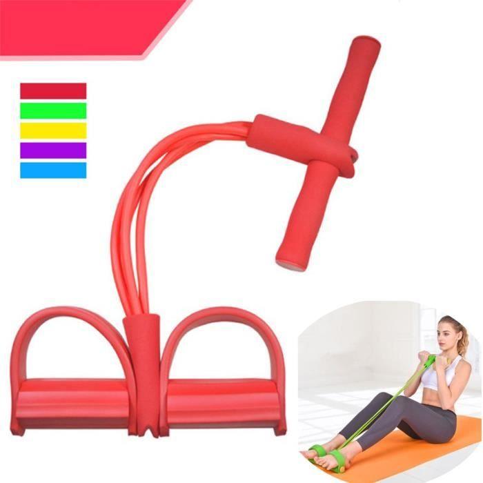 Appareil de gym 4 avec repose-pieds pour exercice - Rameur avec élastique Rouge