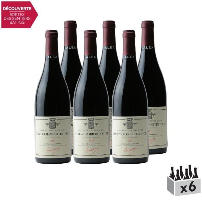 Gevrey-Chambertin 1er Cru Aléa Rouge 2013 - Lot de 6x75cl - Domaine Trapet - Vin AOC Rouge de Bourgogne - Cépage Pinot Noir