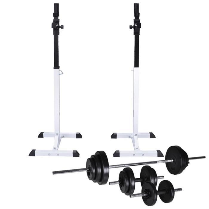 Support d'haltères avec jeu d'haltères et de poids 30,5 kg-DIN