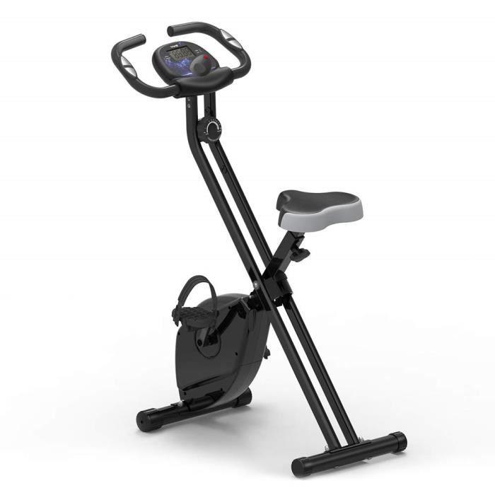 Vélo d'Appartement Pliable Fitnessbike Cardio Abdominal Dos Bras Capteur de Pouls et Cardiaque Noir UK STOCK